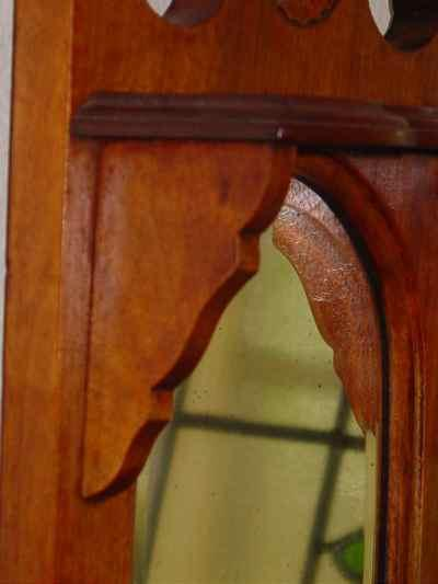 English Antique Solid Walnut Wall Hanging Shaving Mirror