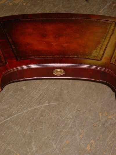 Cowen Mahogany Leather Top Coffee Table With Drop Leaf Extensions