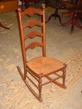 Antique Solid Cherry Ladder Back Rocker