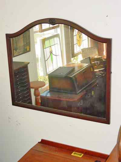 Walnut Framed Mirror with Applied Carving