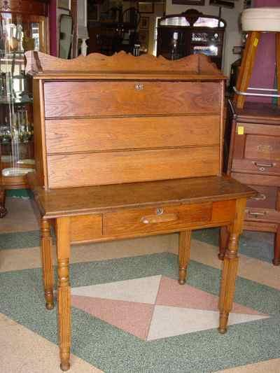 Antique Solid Oak Plantation Desk
