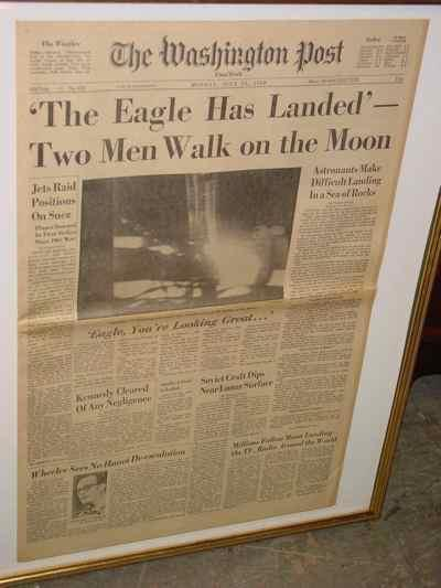 Framed Original Moon Landing Newspaper