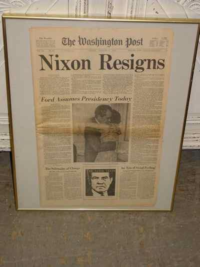 Framed Original Nixon Resigns Newspaper