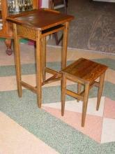 H. T. Cushman Manufacturing Company Antique Solid 1/4 Sawn Oak Telephone Stand