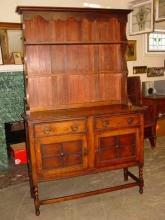 English Barley Twist 1/4 Sawn Tiger Oak Welsh Dresser