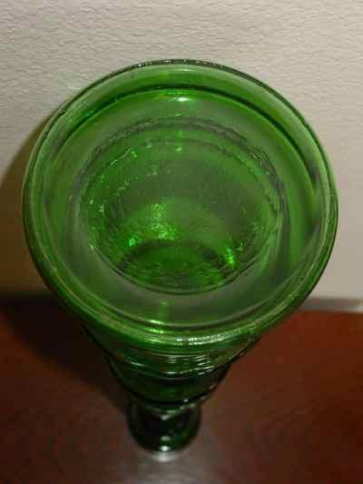 Pair of Tall Vintage Green Glass Candlesticks
