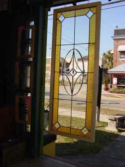Antique Leaded Beveled Clear Glass Window with Golden Border