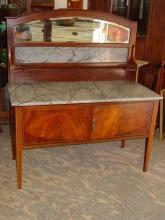 English Antique Sheraton Style Mahogany Marble Top Washstand