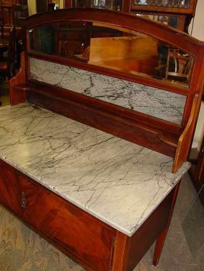 English Antique Sheraton Style Mahogany Marble Top Washstand