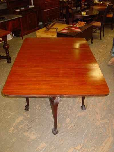 Vintage Mahogany Ball & Claw Foot Drop Leaf Gate Leg Table