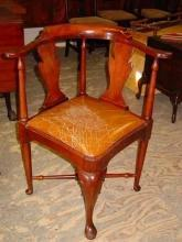 Vintage Chippendale Style Solid Mahogany Roundabout Corner Chair