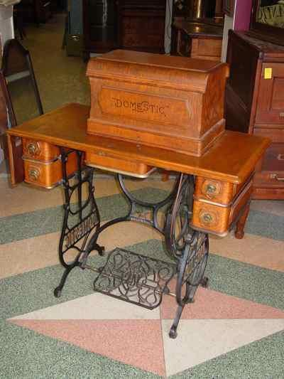 Antique Oak Cabinet Domestic Treadle Sewing Machine Model 3