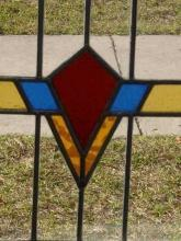 Stylized Art Deco Red Flower Antique Stained Glass
