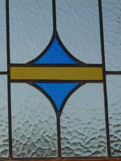 Yellow Band with Blue Stylized Triangles Antique Stained Glass