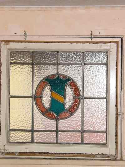 Blue & Yellow Coat of Arms Shield with Rose Wreath Antique Stained Glass