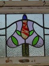 Victorian Tri Mottled Floral Tree Antique Stained Glass