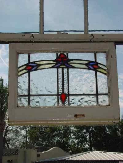 Arched Red Floral Antique Stained Glass