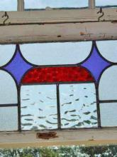 Art Deco Stylized Purple Diamonds with Red Band Antique Stained Glass