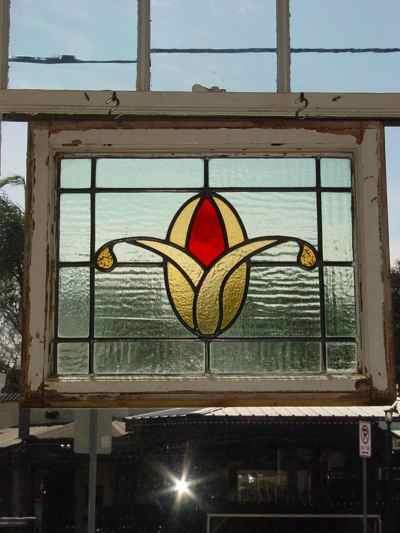 Red & Golden Floral Antique Stained Glass
