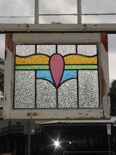 Rose & Blue Floral Antique Stained Glass