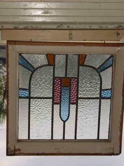 Art Deco Arched Geometric Antique Stained Glass