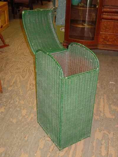 Vintage Green Wicker Hamper