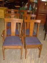 Set of 6 Antique Solid 1/4 Sawn Tiger Oak Chairs