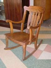 Antique Solid 1/4 Sawn Tiger Oak Rocking Chair