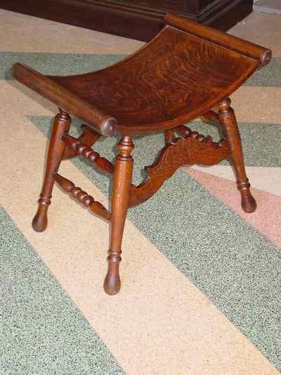Antique Solid 1/4 Sawn Tiger Oak Saddle Bench Stool