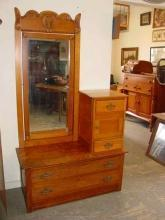 Antique Solid Oak Cheval Dresser
