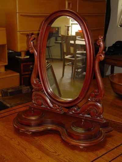 Antique Victorian Solid Mahogany Dressing Shaving Mirror