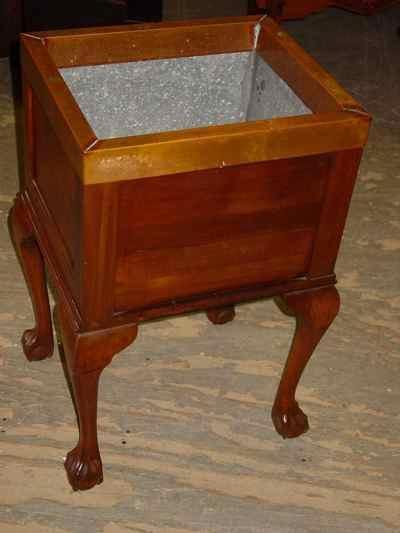 Antique Solid Mahogany Claw & Ball Foot Copper Trim Planter