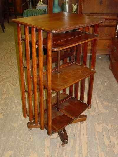 Antique Arts & Crafts Mission Style Solid 1/4 Sawn Tiger Oak Revolving Bookcase