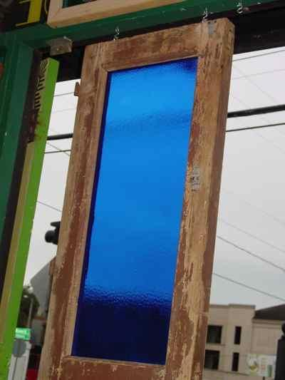 German Antique Pine Door with Blue Glass Panel