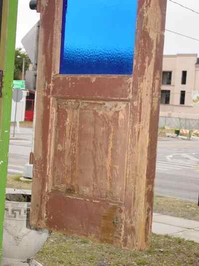 German Antique Pine Door with Blue Glass Panel