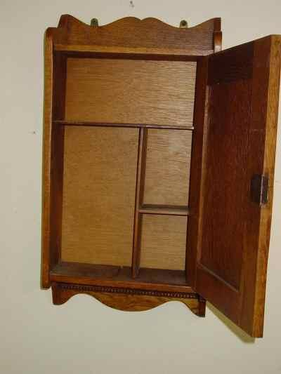 Antique Solid Oak Hanging Cabinet
