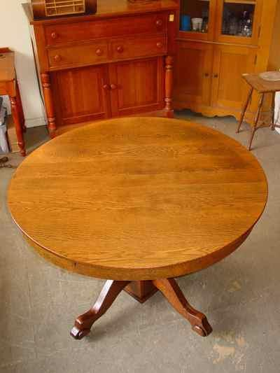 Antique Solid Oak Pedestal Table with Leaf