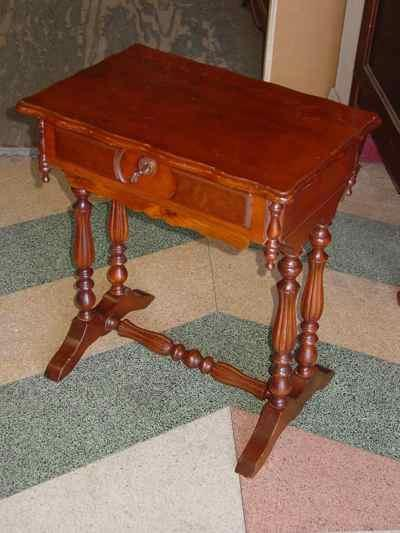 Antique Victorian Solid Walnut Lift Top Sewing Stand