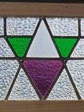 Art Deco Purple & Green Geometric Antique Stained Glass