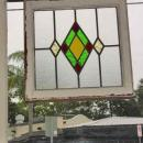 Diamond within Diamond Antique Stained Glass