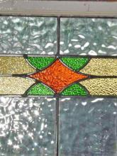Stylized Orange Diamond with Green Triangles Antique Stained Glass