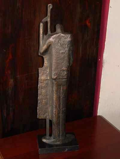 The Bass Player Vintage Bronzed Iron Sculpture on Marble Base