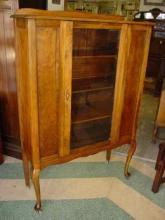 Vintage Golden Walnut China Cabinet with Cabriole Legs