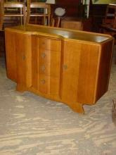 English Vintage Art Deco Style 1/4 Sawn Tiger Oak Sideboard/Buffet