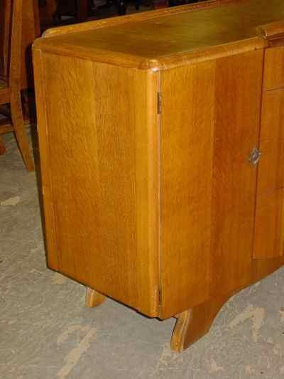 English Vintage Art Deco Style 1/4 Sawn Tiger Oak Sideboard/Buffet