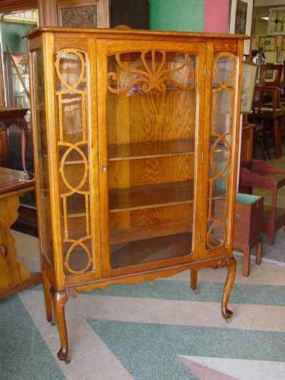 Antique Solid Oak China Cabinet with Cabriole Legs