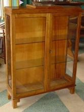 English Vintage Oak Curio Bookcase
