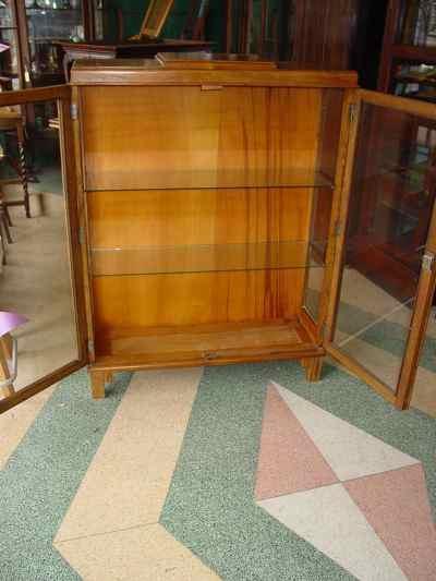 English Vintage Oak Curio Bookcase