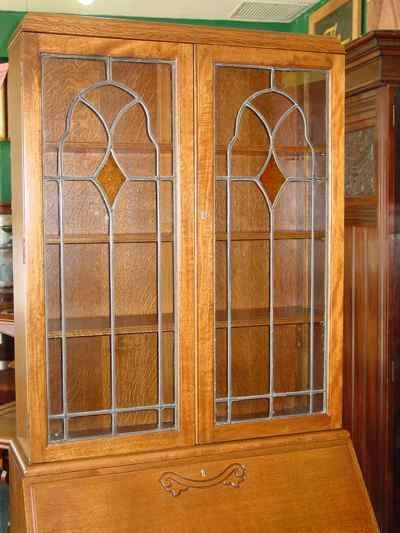 English Vintage Oak Bureau Bookcase with Stained Glass