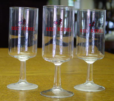 (3) Three = Red Rebel Advertising Glasses
